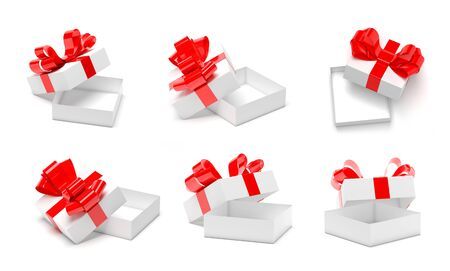 Gift boxes decorated with ribbon. Open empty containers with red bow