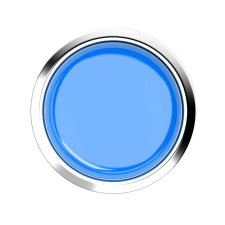 Blue push button. Alarm sign, top view. 3d rendering illustration isolated