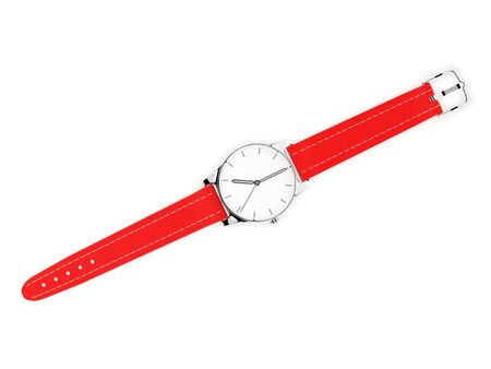 Wrist watch with unbuckled bracelet. White dial with metal case and red leather band