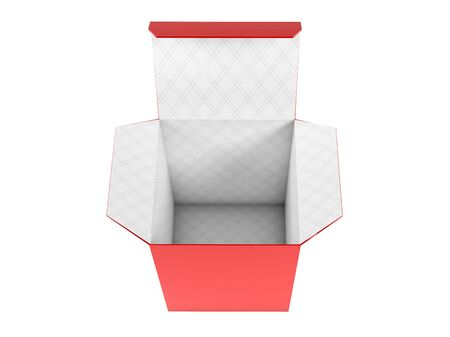 Red high box. Open carton with white inside. 3d rendering illustration isolated