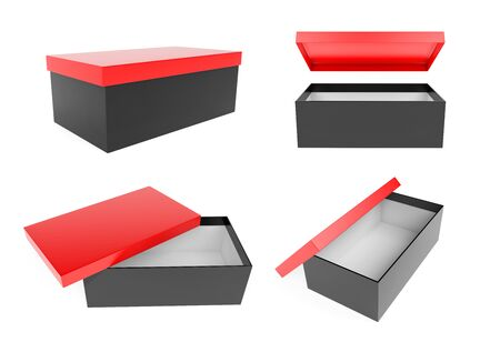 Red and black shoe box set. Open and closed. 3d rendering illustration isolated