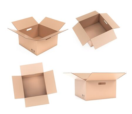 Open corrugated carton box with handle holes. Set. 3d rendering illustration isolated