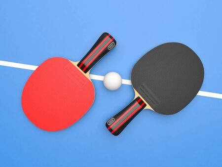 Red and black table tennis rackets with ball. On blue background