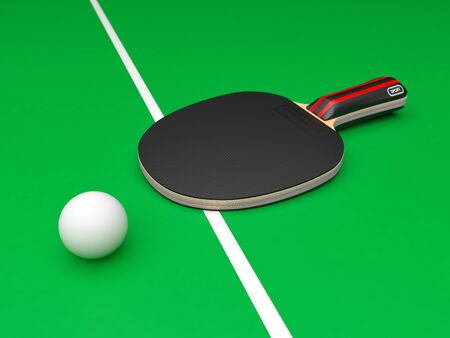 Black table tennis racket with ball. On green background Imagens