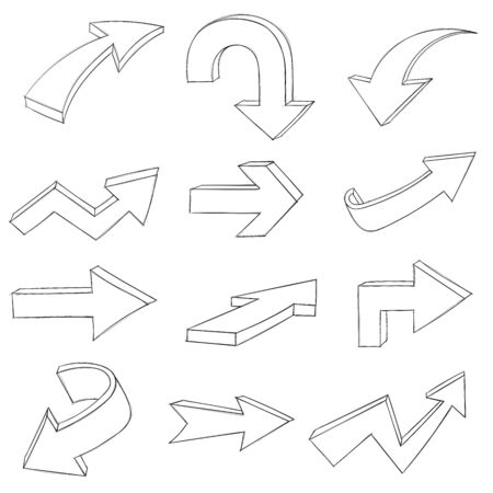 Arrows. Collection of hand drawn arrow signs. Vector illustration isolated on white background Ilustração