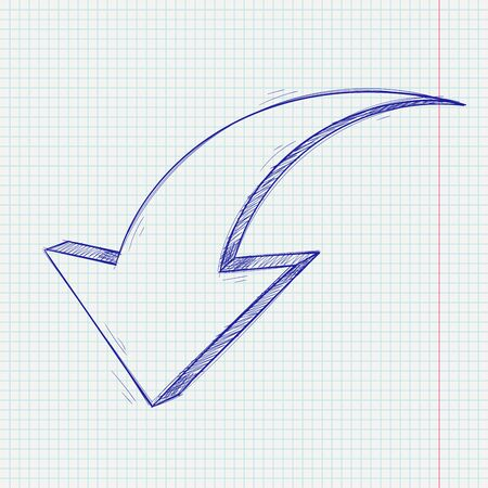 Arrow sketch. Down sign. Blue hand drawn doodle on lined paper background. Vector illustration