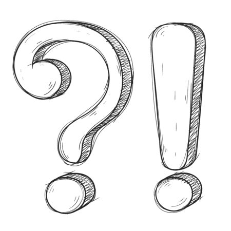 Question and Exlamation marks. Hand drawn doodle style. Vector illustration isolated on white background Imagens - 128384139