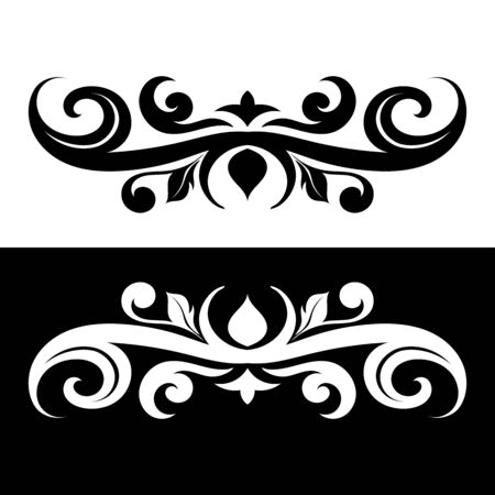 Ornamental dividers. Black and white decorative filigree design elements. Vector illustration Imagens - 128389001