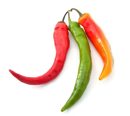 Chili peppers. Set of colored hot peppers