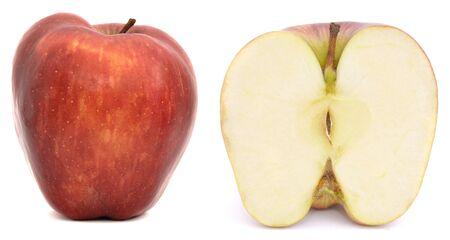 Red apple cut in half. Sweet fruit Imagens
