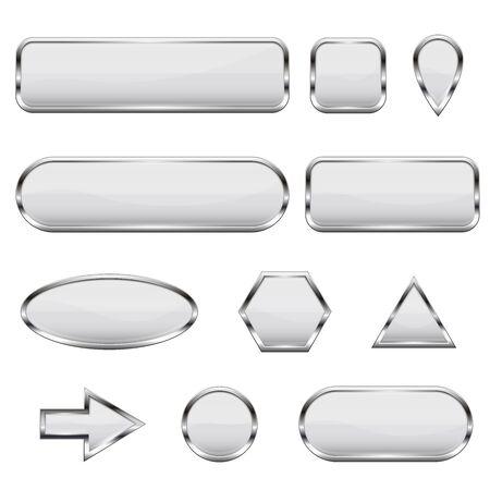 White 3d icons. Glass shiny buttons Ilustração