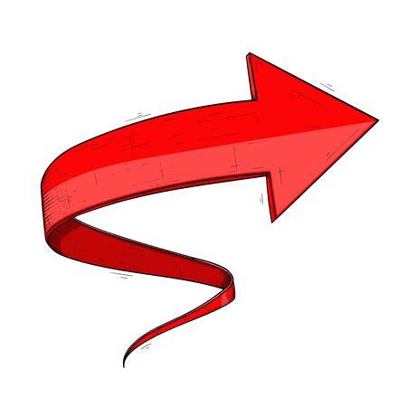 Next red arrow. Curled up sign Ilustração