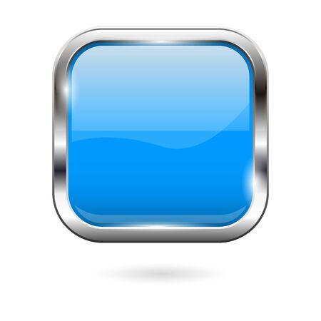 Blue glass button. 3d shiny square icon