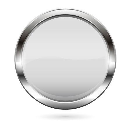White glass button. 3d shiny round icon