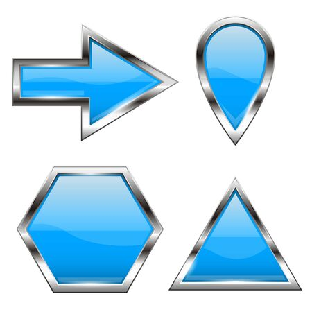 Blue shiny web icons with metal frame