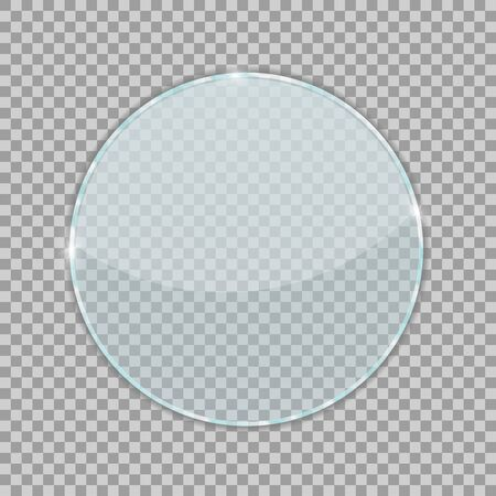 Round transparent glass isolated on checkered background