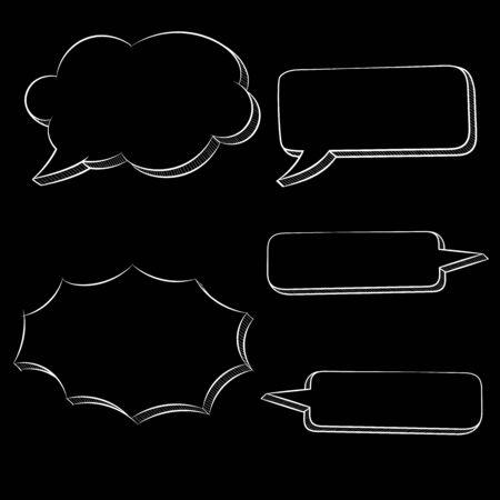 Speech bubbles. White hand drawn sketch on black background. Vector illustration
