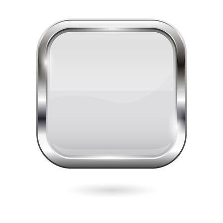 Knopf aus weißem Glas. 3D-glänzendes quadratisches Symbol