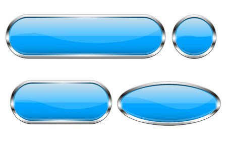 Blue glass buttons. Set of 3d oval shiny icons with chrome frame