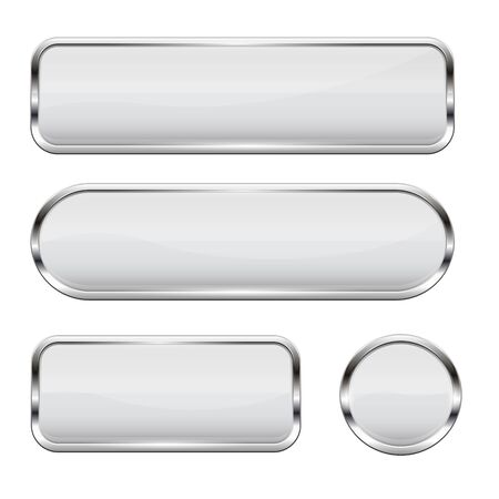 White glass buttons. Set of 3d shiny icons with chrome frame  イラスト・ベクター素材