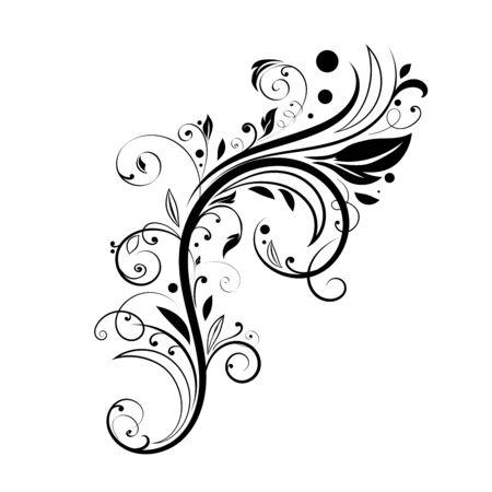 Floral decorative element. Black branch  イラスト・ベクター素材