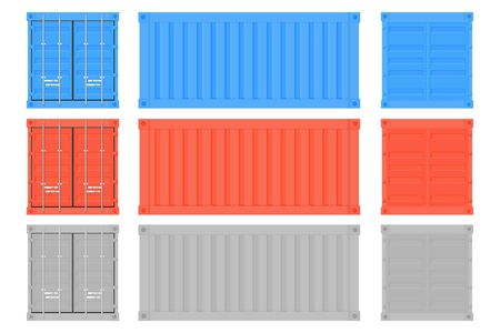Shipping freight container. Colored intermodal containers set