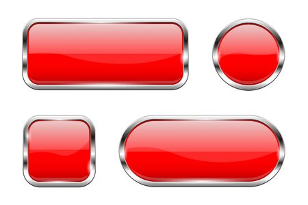 Red glass buttons. Set of 3d shiny icons with chrome frame