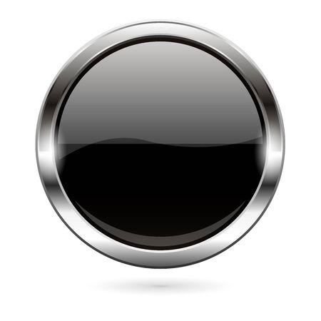Black glass button. 3d shiny round icon