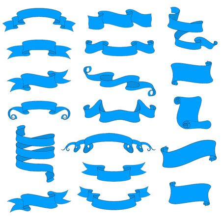 Ribbon and paper scrolls. Blue icons set