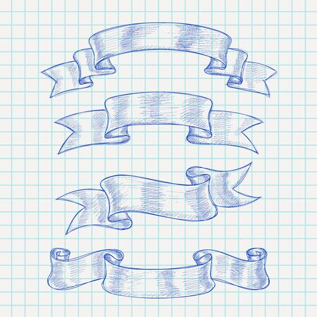 Ribbon scrolls. Hand drawn sketch on lined paper background  イラスト・ベクター素材