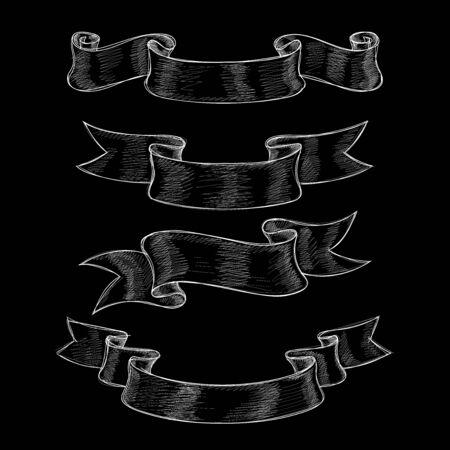 Ribbon scrolls. Hand drawn sketch on black background