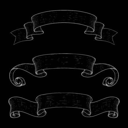Ribbon scrolls. Hand drawn design icons on black background