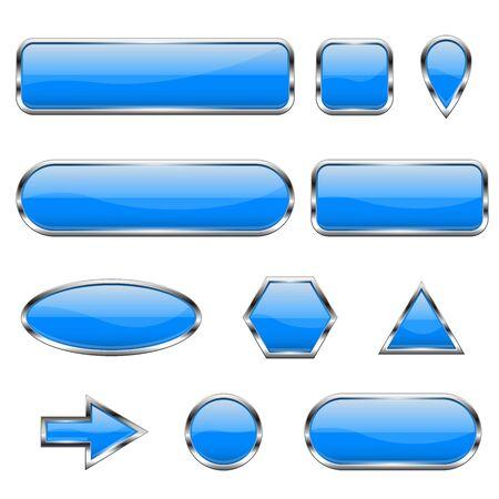 Blaue 3D-Symbole. Glänzende Glasknöpfe