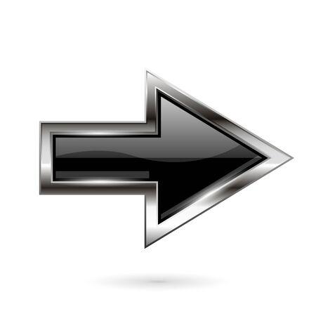 Black arrow. 3d shiny glass icon with chrome frame  イラスト・ベクター素材