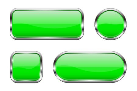 Green glass buttons. Set of 3d shiny icons with chrome frame. Vector illustration isolated on white background