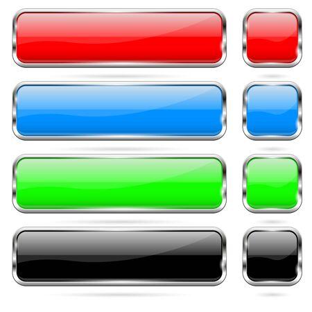 Colored buttons set. Shiny 3d glass icons Vektorové ilustrace