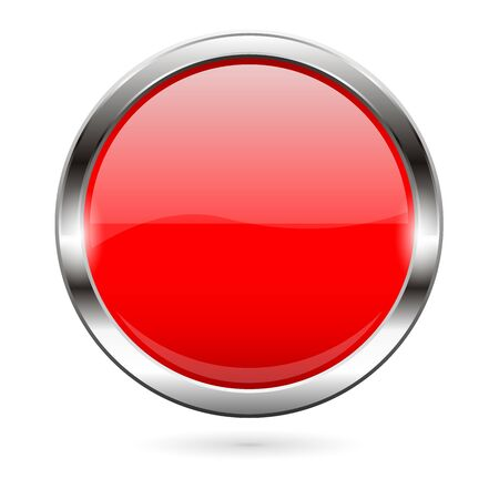 Red glass button. 3d shiny round icon. Vector illustration isolated on white background