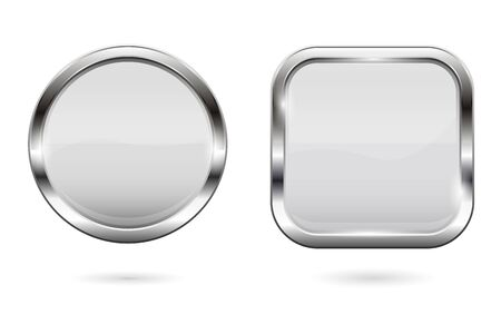 White glass buttons. 3d shiny round and square icons