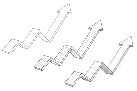 Financial rising arrows set. Hand drawn sketch and outline signs. Vector illustration isolated on white background