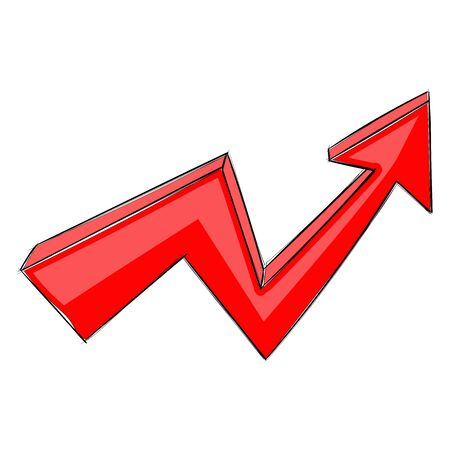 Red UP arrow. Financial rising trend graph. Hand drawn sign. Vector illustration isolated on white background