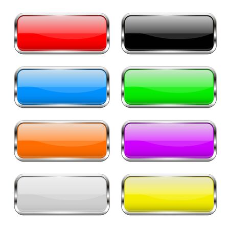 Set di pulsanti colorati. Icone di rettangolo di vetro lucido 3d. Illustrazione vettoriale isolato su sfondo bianco Vettoriali