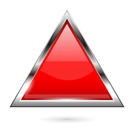 Red glass button. 3d shiny triangle icon. Vector illustration isolated on white background