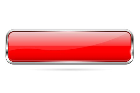 Red glass button. 3d shiny rectangle icon. Vector illustration isolated on white background