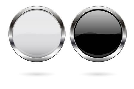 Round glass buttons. Black and white icons with metal frame. Vector 3d illustration isolated on white background  イラスト・ベクター素材