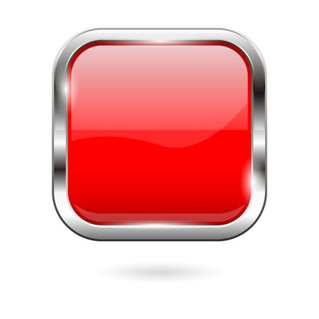 Red glass button. 3d shiny square icon. Vector illustration isolated on white background