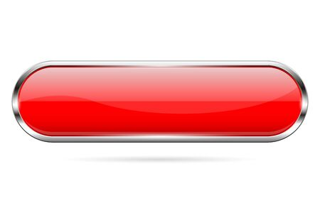 Red glass button. 3d shiny oval icon. Vector illustration isolated on white background  イラスト・ベクター素材