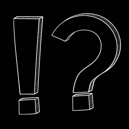 Question and Exlamation marks. Doodle style on black background. Vector illustration