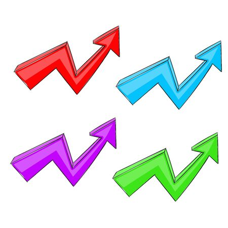 Colored UP arrows. Rising trend graph. Vector illustration isolated on white background  イラスト・ベクター素材