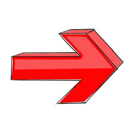 Red Next arrow. Hand drawn sign. Vector illustration isolated on white background  イラスト・ベクター素材