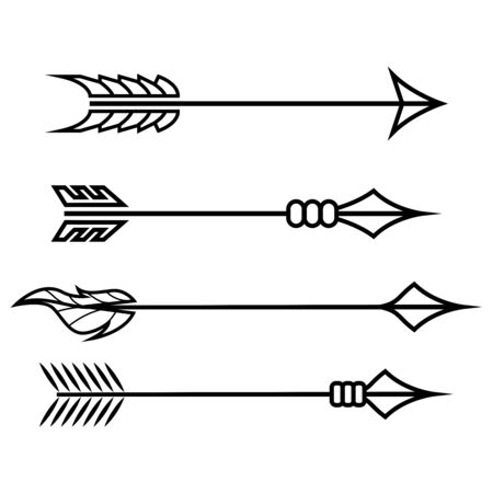 Crossbow arrows. Set of different arrow symbols. Hand drawn doodles. Vector illustration isolated on white background
